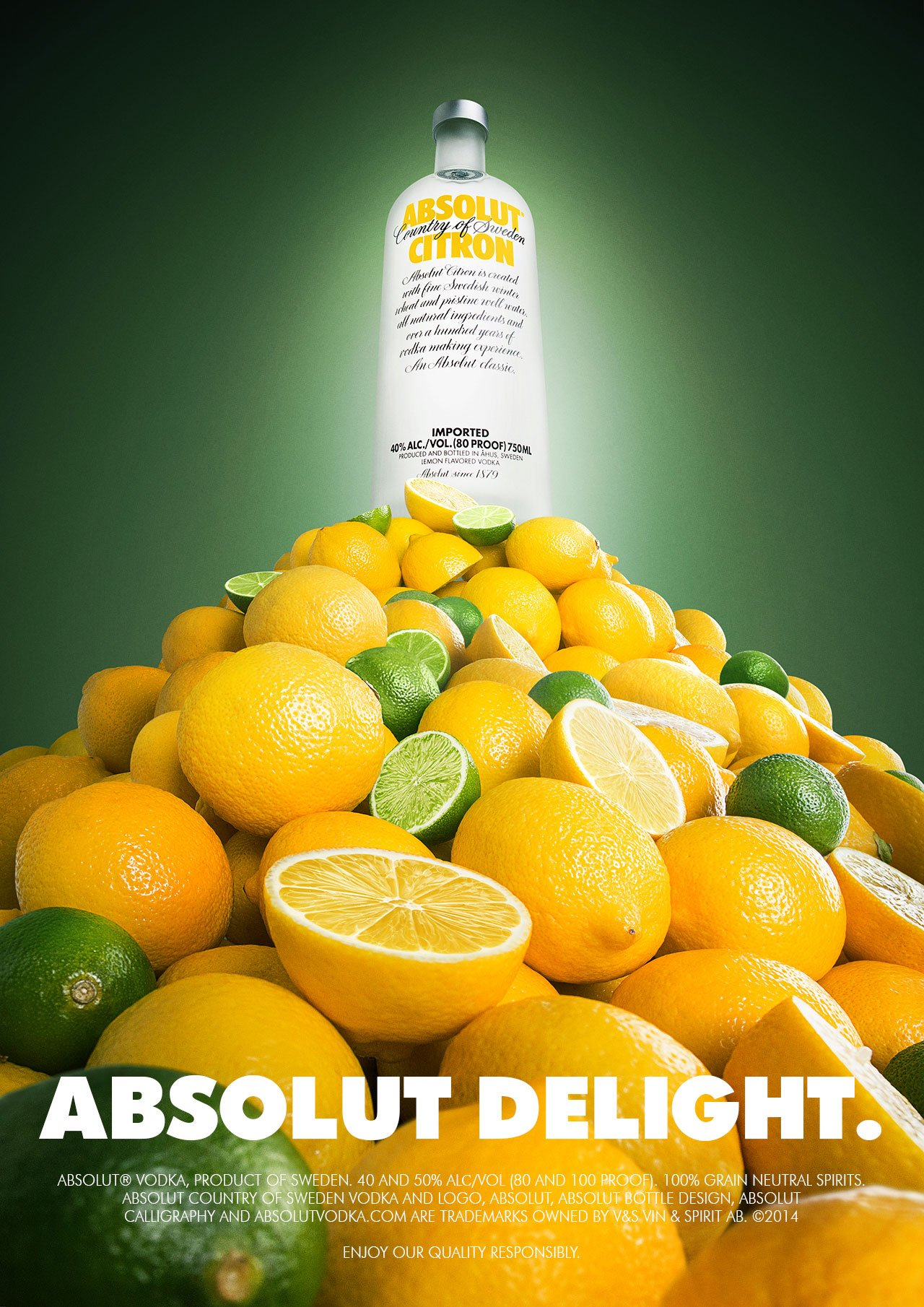 absolut vodka bottle on top of lemon mountain